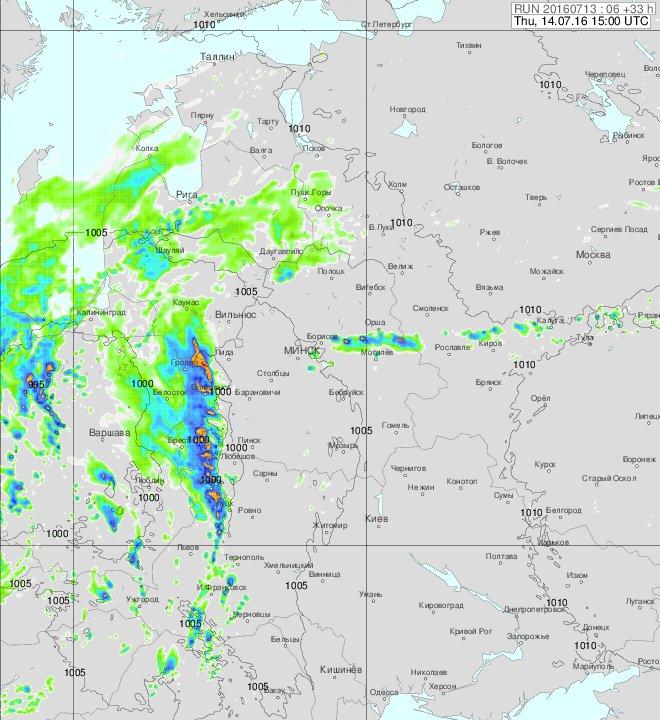 Синоптики предупреждают о сильных ливнях утром 14 июля