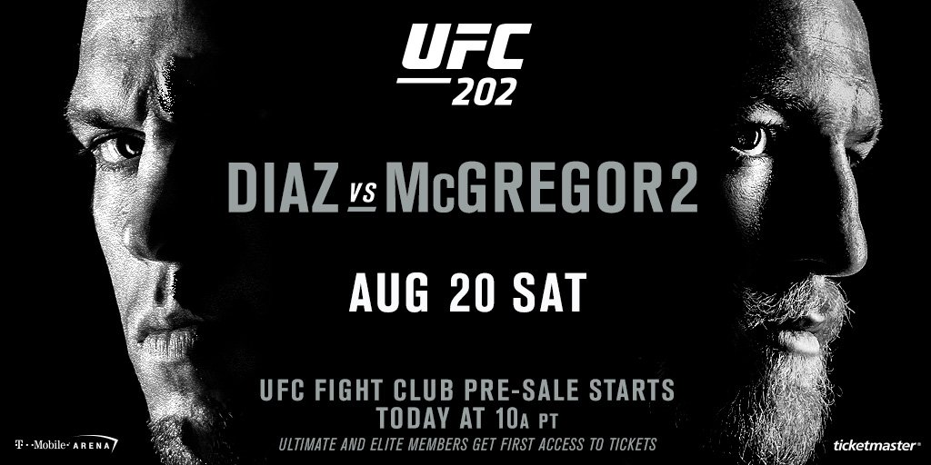 Today is the day! ⏰ 10am PT Alarm✔️Pre-Sale Codes ✔️ Ticket link: https://t.co/dJlq1z2xqp ✔️   #UFC202 here we come! https://t.co/Z8rOSpFq5n