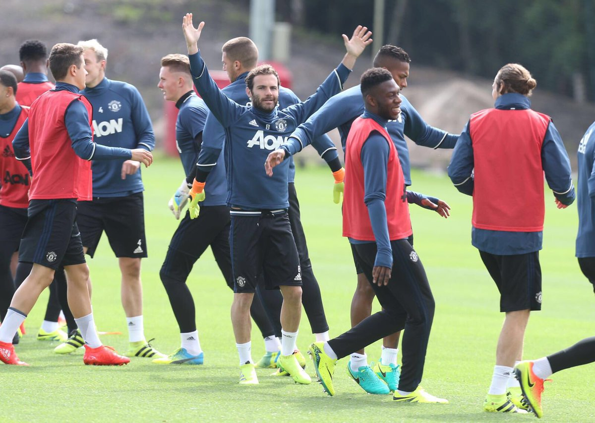 Mata looks happy in training session