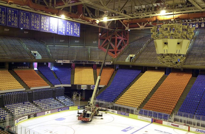 Rupp Arena Rafters Getting Painted Blue