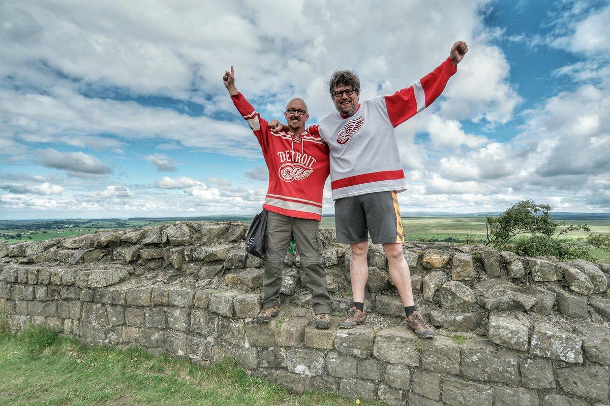 Lifelong @DetroitRedWings fans show their devotion along an 84 mile hike along Hadrian's Wall in England. #LGRW https://t.co/B2g61ROaFb