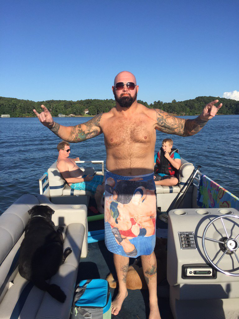 Took a ride on my boat, put on my TOWELSKI.....Then....#BeatUpJohnCena https://t.co/IYoG0krjV8