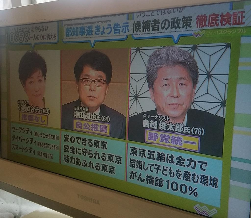 「鳥越さんが有利」と普通にコメンテーターが言ってたけどリベラル候補が有利と報道されたのは青島都知事以来20数年ぶりではないだろうか。 https://t.co/JE2XpxGwOf
