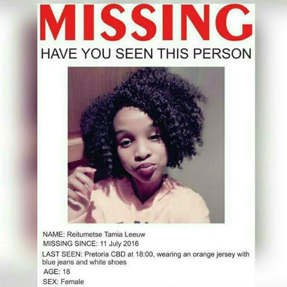 Please help Lennox find his 18 year old daughter, Reitumetse Leeuw...She's been missing since Monday. #MissingPerson https://t.co/IPBbbfqfHw
