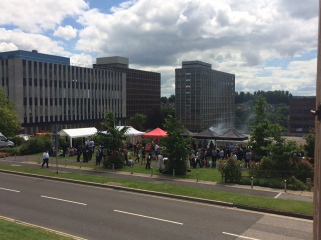 Lovely food, music and sunshine from the @BasingView summer BBQ this lunchtime! #Basingstoke #Basingview #bbq https://t.co/kvXqZtf8RH