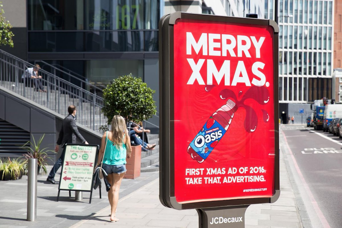 oasis drinks on twitter first xmas ad of 2016 its no big red truck but it is a big red poster - Day After Christmas Ads