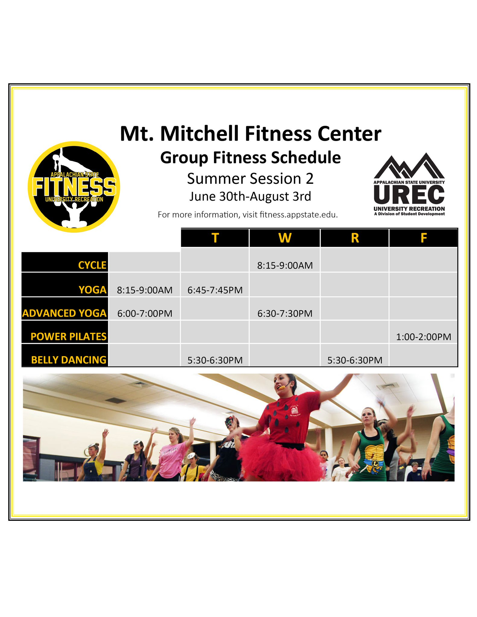 App State Fitness On Twitter Mt Mitchell Has A Group Fitness Class For Every Day Of The Week Don T Miss Out On All Of The Fun Groupfitness
