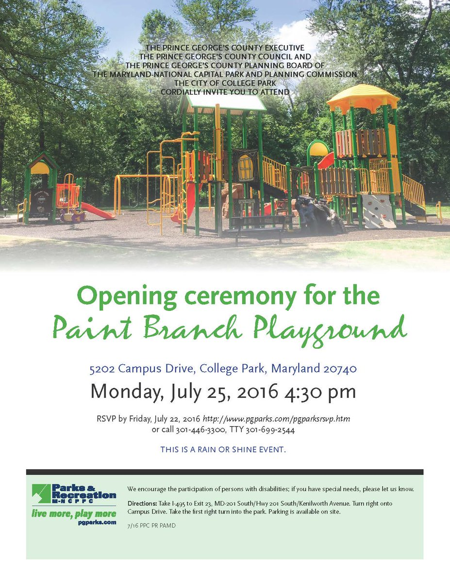 City Of College Park On Twitter Paint Branch Playground Opening
