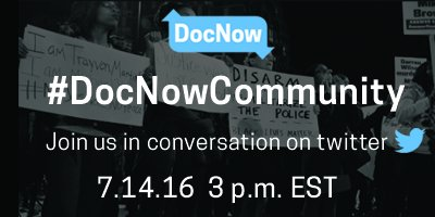 Join us today for a conversation on social media archiving. We want to hear about your work. #DocNowCommunity https://t.co/M7un7nOiQm