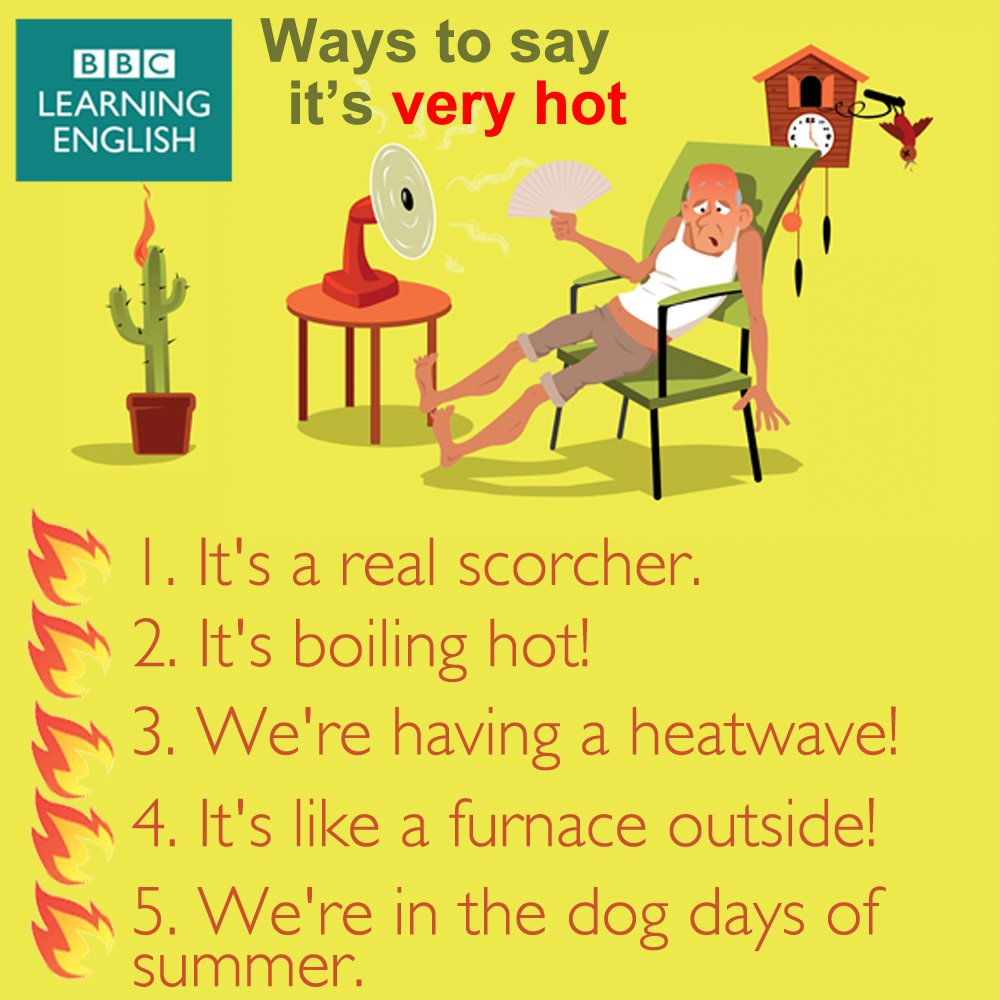 What is the weather like where you are? If it's very hot, here's what you could say…  #learnenglish #vocab #elt