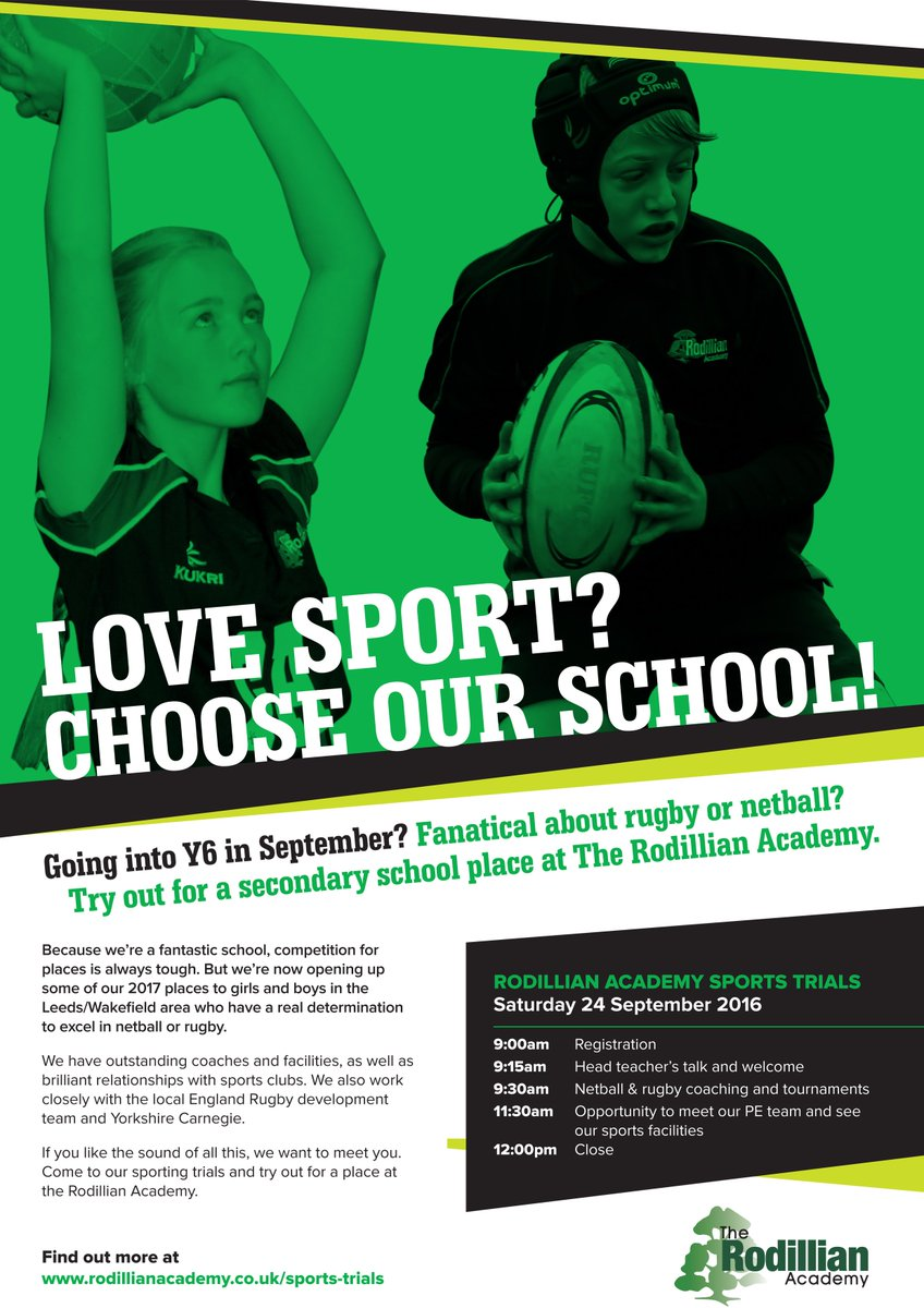 The Rodillian Academy now taking 10% of Year 7 intake based on rugby & netball ability! #resilience #trials #sport