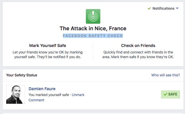 Le Safety Check activé par Facebook https://t.co/dk5u13lR8Q