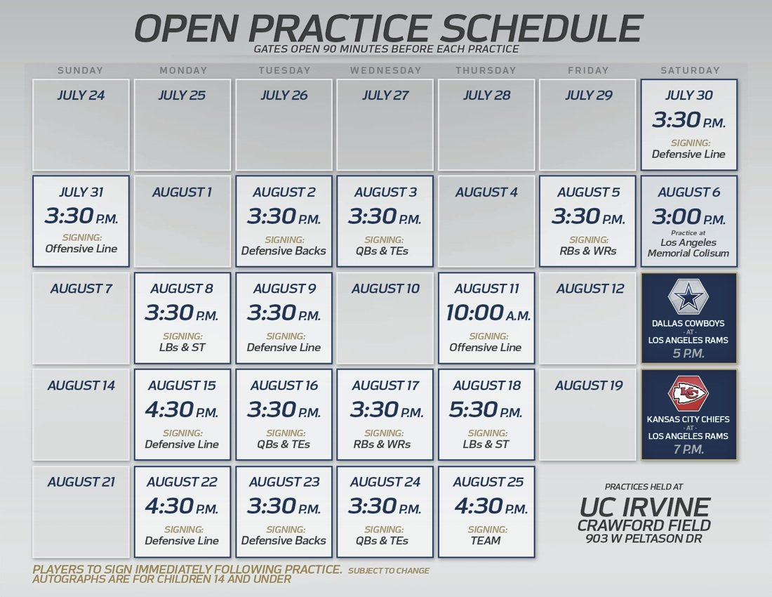 Rams Camp Calendar + Autograph Schedule 📅  📲 https://t.co/dQEz6obmmY https://t.co/qOUqmP8S0B