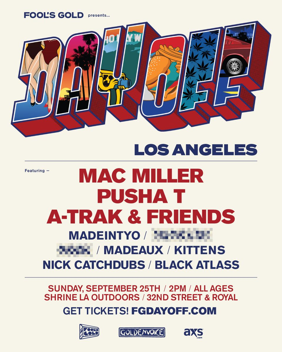 Going going back back 2 Cali! @macmiller @PUSHA_T @madeintyo rock #FGDAYOFF LA 9.25 TIX https://t.co/GTOwr11aKr https://t.co/zeoY2D4PZx
