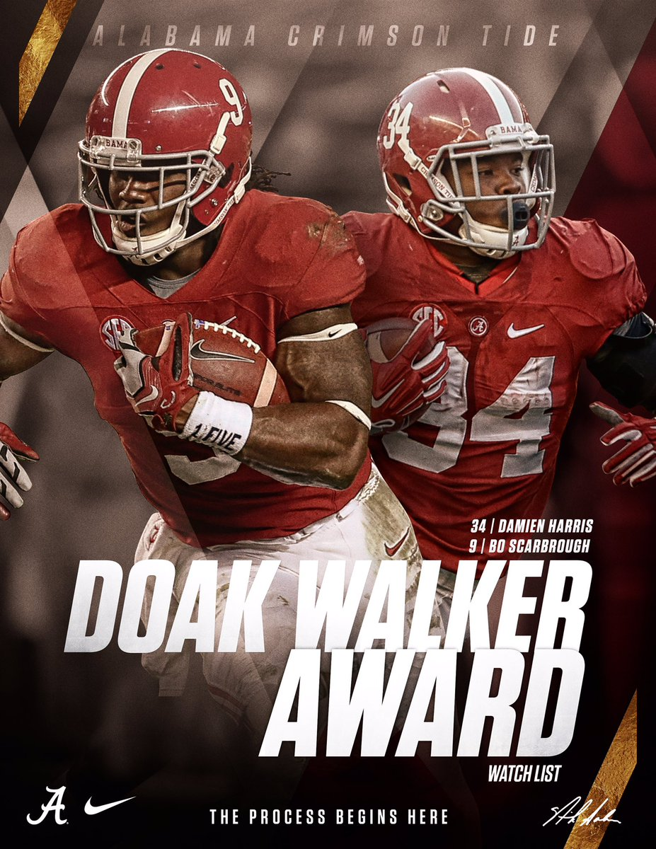 Alabama Football On Twitter Congrats To Bo Scarbrough Damien Harris For Being Named To The Doakwalkeraward Watch List Rolltide Cfbwatchme