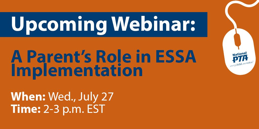 Join us July 27 to learn about the #ESSA implementation w/ @NationalPTA's @BallJacki & more! https://t.co/qsreq5mrHR https://t.co/EnMaX0gdeq