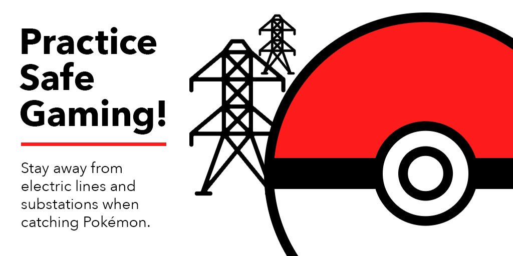 Trainers stay away from electric lines and substations. Even if you're tracking an electric type Pokémon! #PokémonGo https://t.co/52LMs335Yv