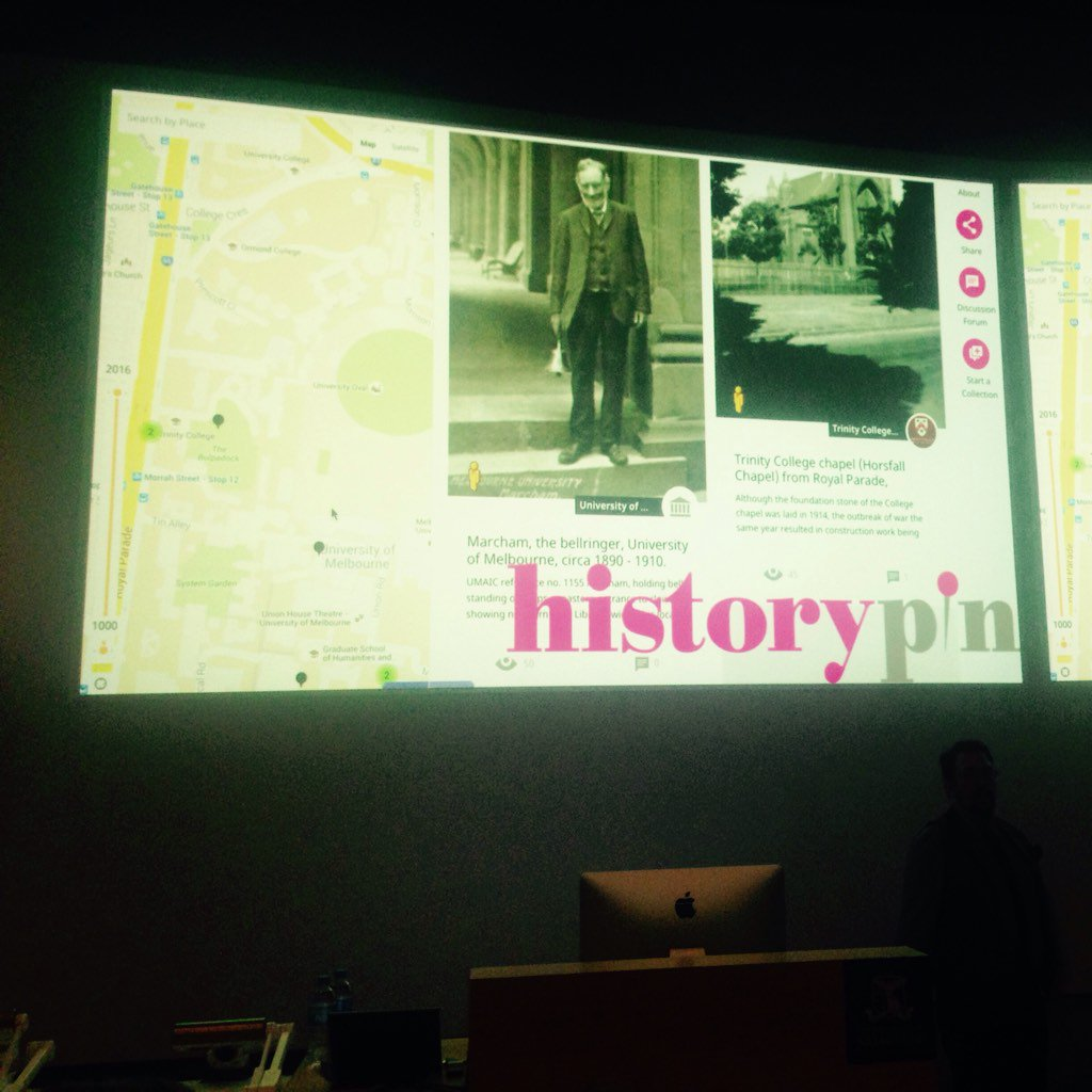 History pin encourages collaborative placemaking by community groups and institutions - with @bfk at #DigitalGLAM https://t.co/G9snHTG9U0