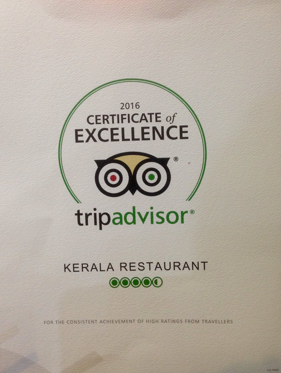 Kerala Restaurant On Twitter Certificate Of Excellence Frm