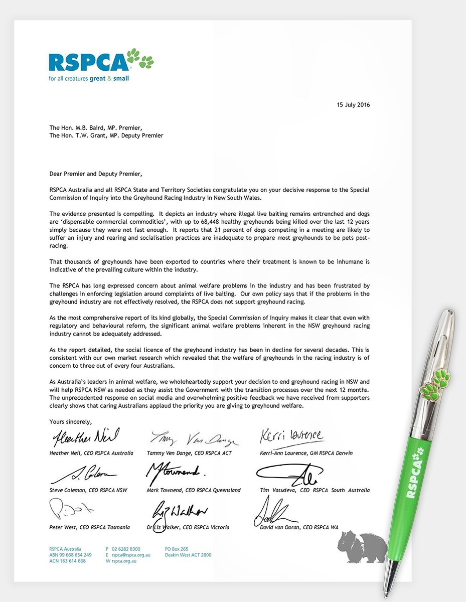 RSPCA CEOs have written to @MikeBairdMP congratulating the NSW Government on the decision to end greyhound racing. https://t.co/m0IVa02x7M