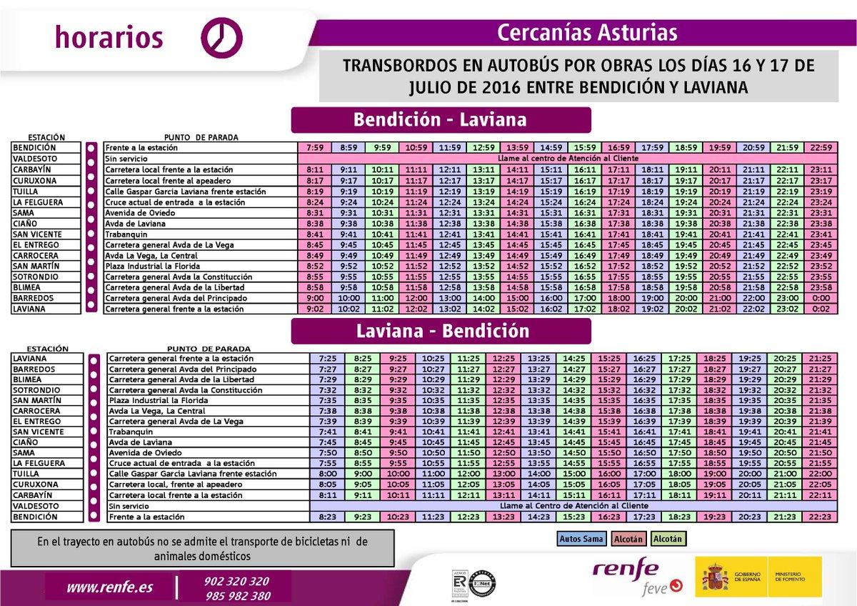 Renfe on twitter horarios autobuses pat por corte de v a for Horario de trenes feve