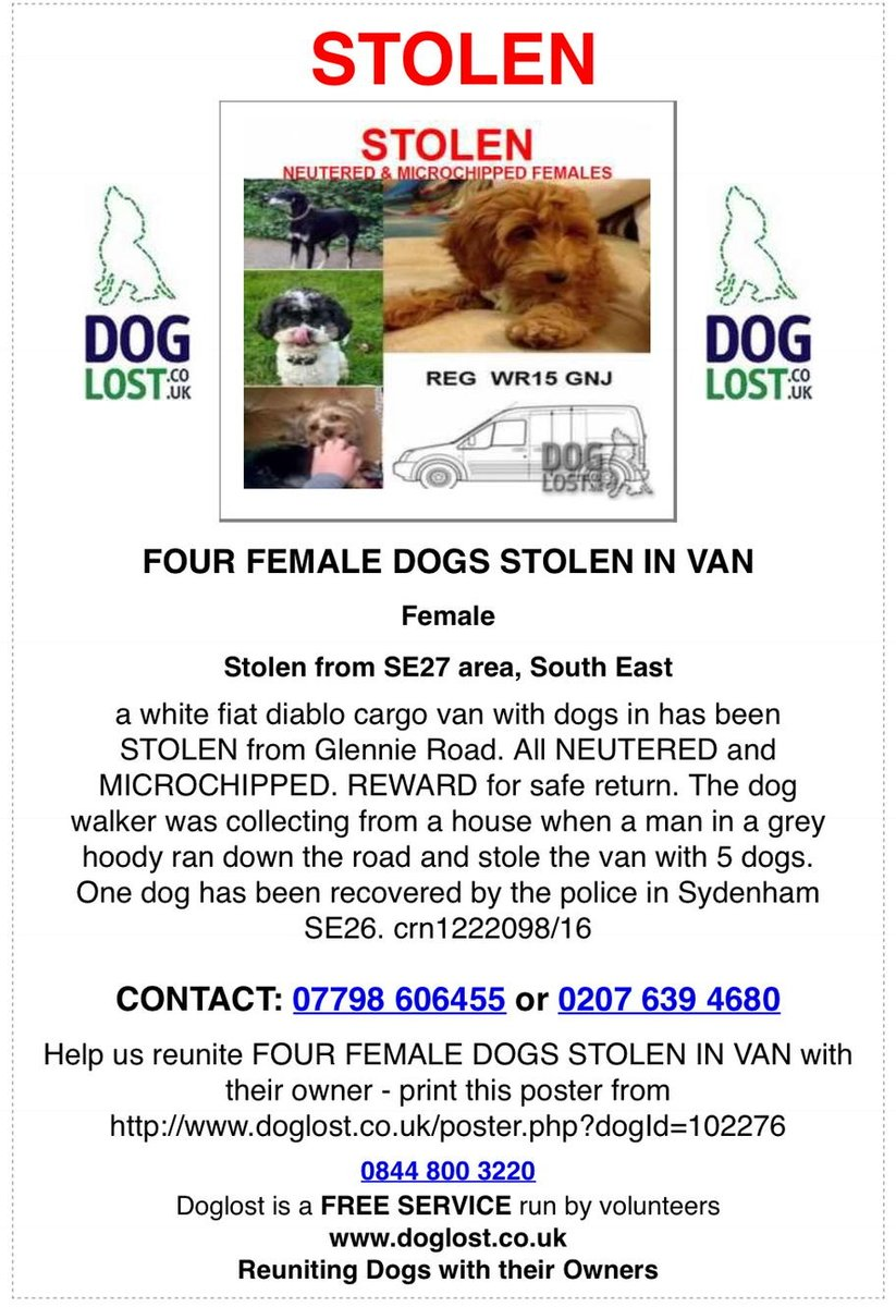Could anyone in South London forward this please van stolen with dogs inside and owners v upset -  thanks so much https://t.co/Ln0N4bz4l1