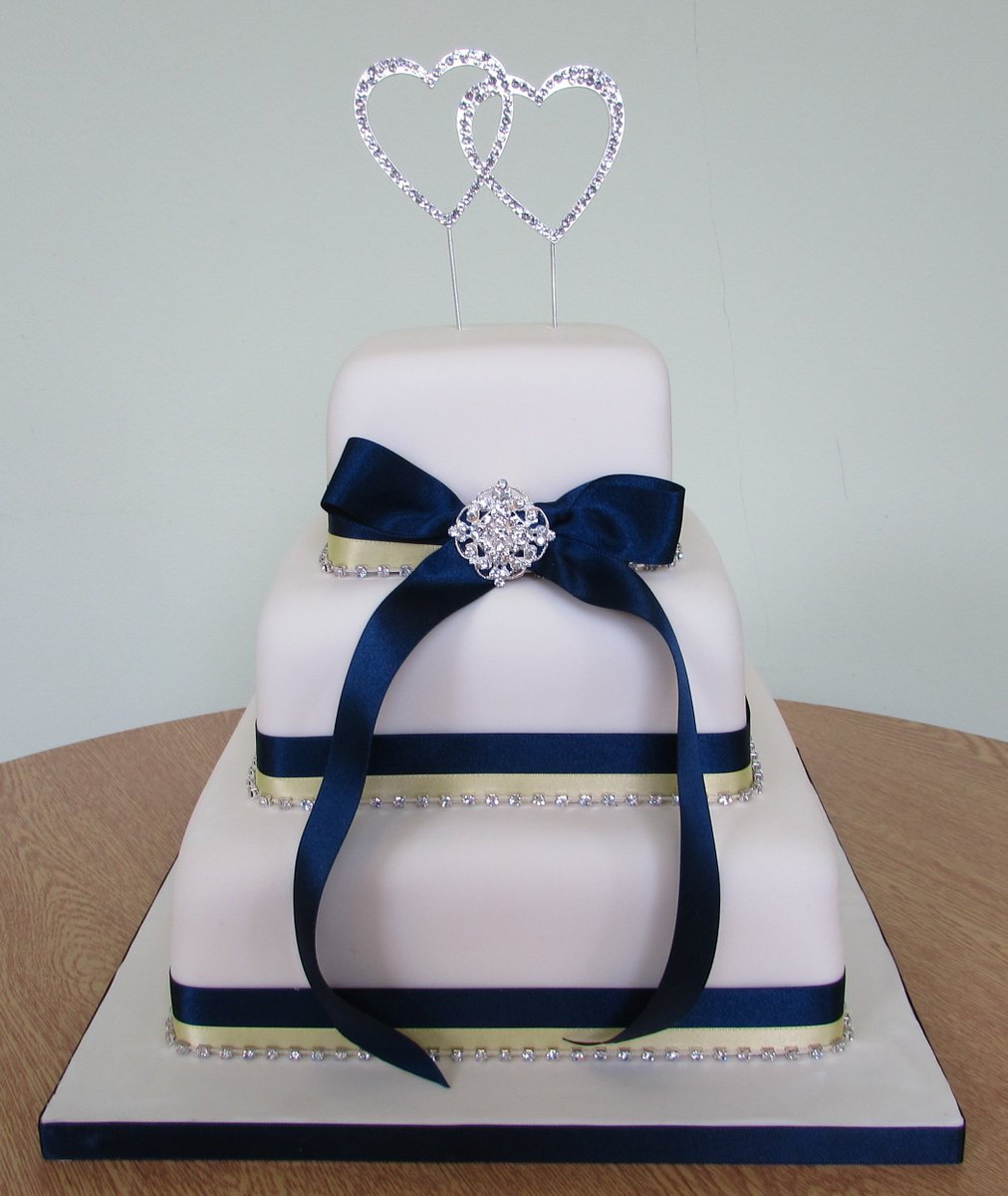 One Stop Cake And Balloons On Twitter 3 Tier Wedding With Navy Lemon Ribbons Diamante Trim Brooch Hearts