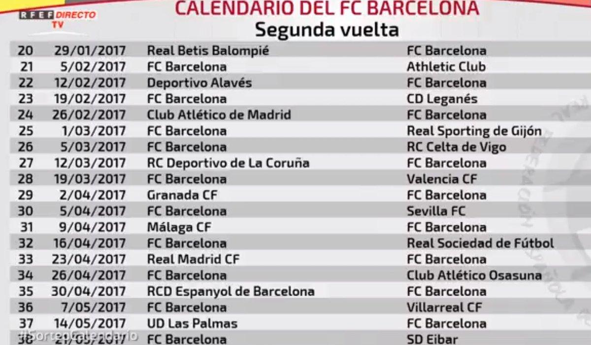 Лига испании 2016 2017 календарь