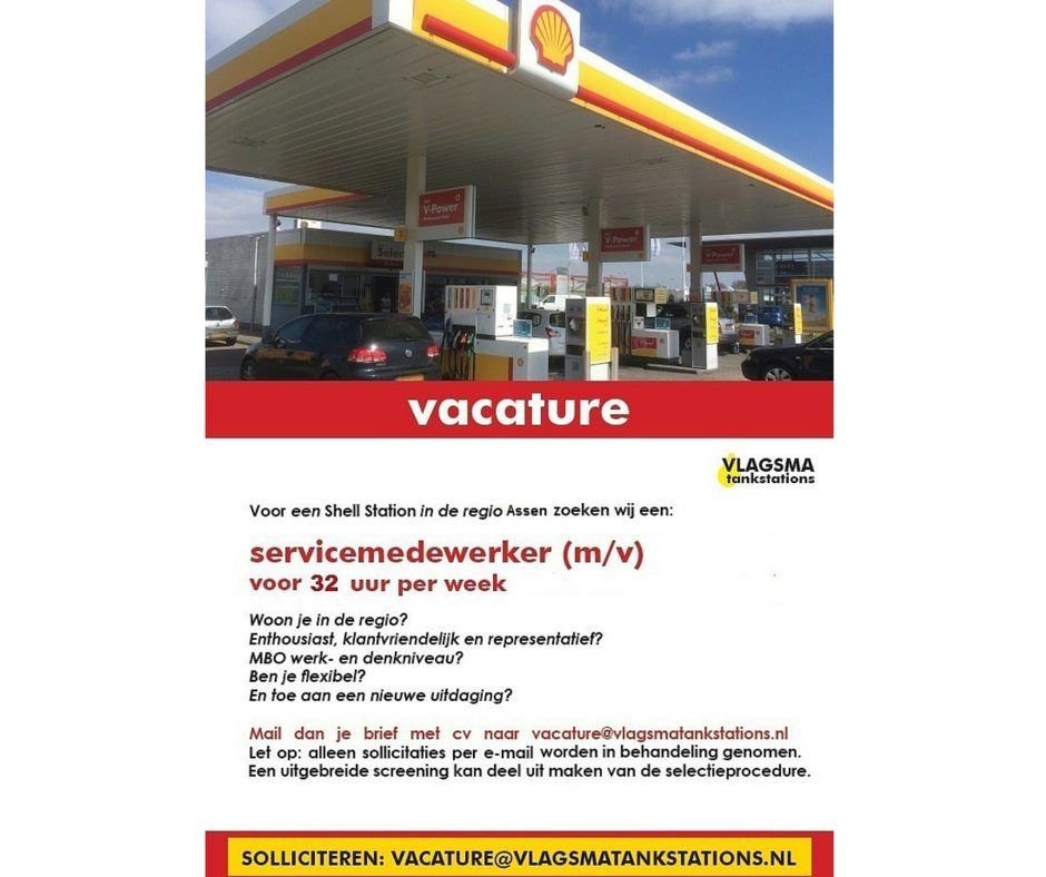 vacature Assen: service medewerker Shell Assen