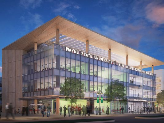 Work starts on Mike Ilitch School of Business at @waynestate