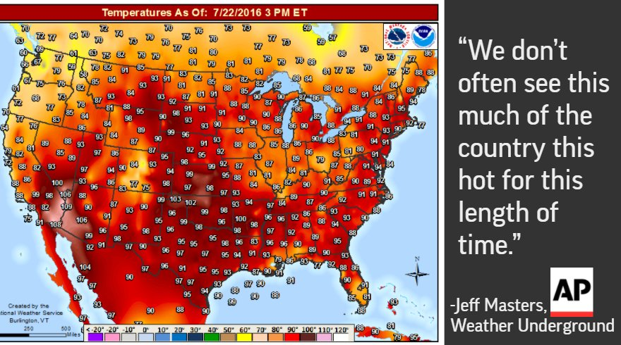 How hot is it? Widespread: 47 of Lower 48 states hit 90 today & it'll only worsen for many; https://t.co/kni1h5KedP https://t.co/2c5juQKw5w