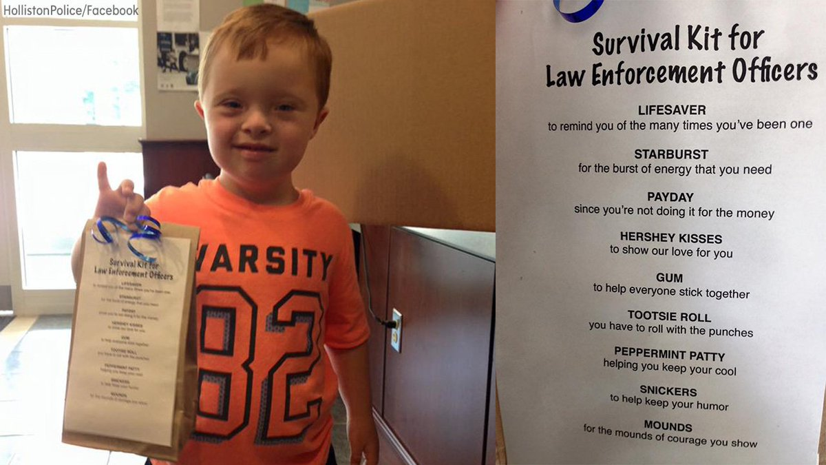 "This young boy dropped off sweet ""survival kits"" for his local police officers."
