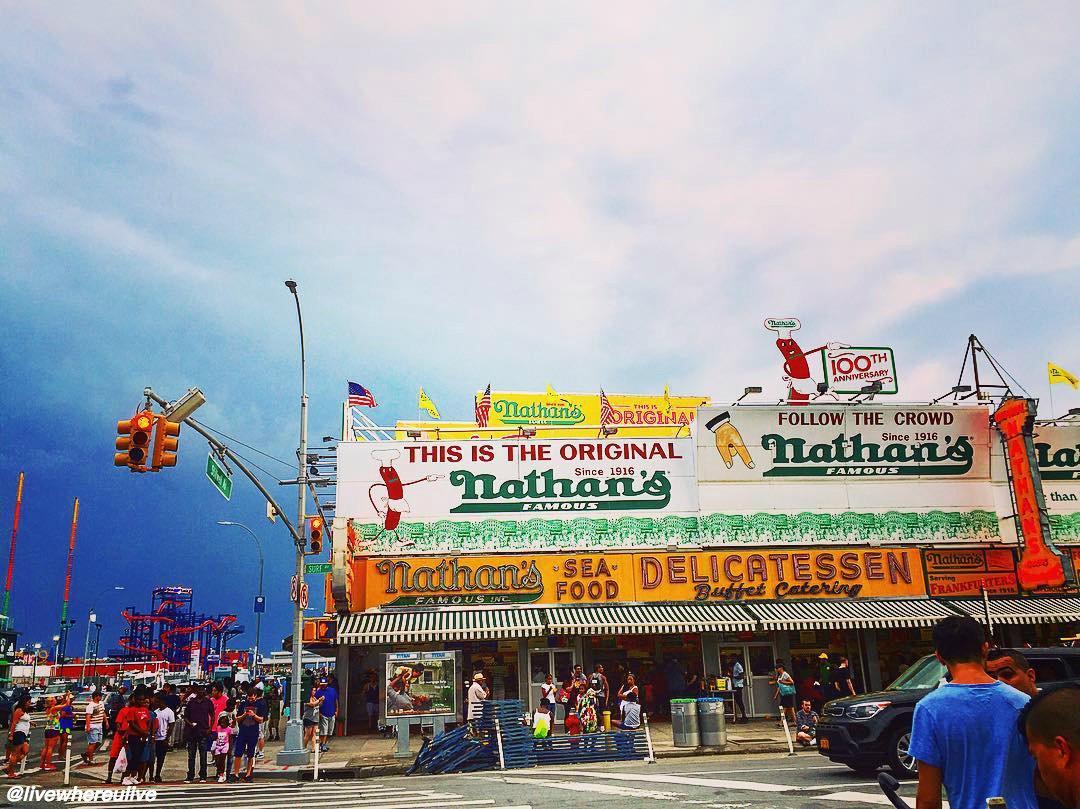 Coney Island: Home to @originalnathans hot dogs. Where better to enjoy NationalHotDogDay?