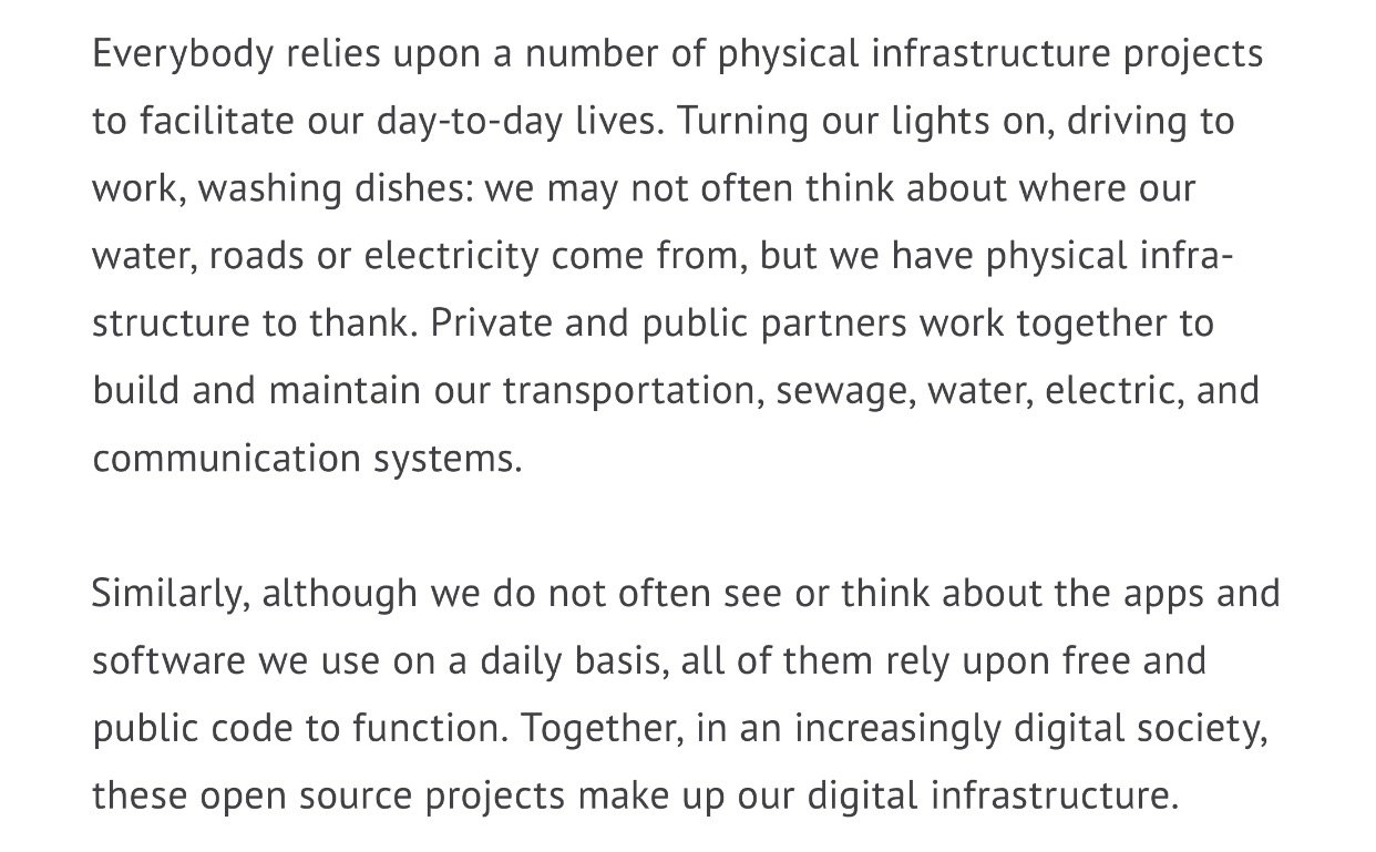 Digital infrastructure is the software equivalent of roads, bridges, power lines, water supplies. https://t.co/AcdiTAPCLo