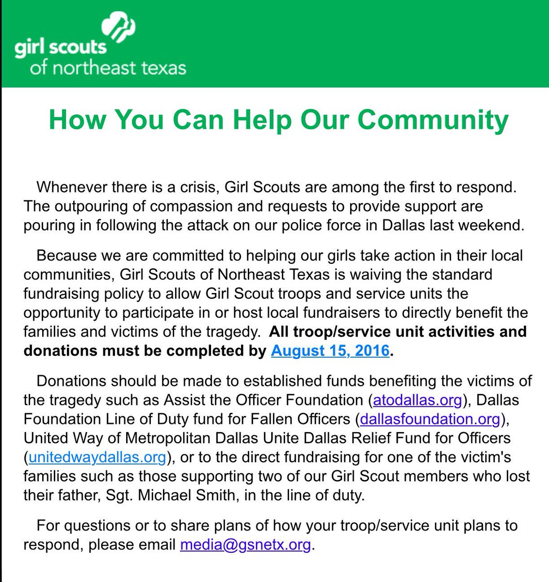 Girl Scouts change policy to support officers. no mention of black lives lost #gsnetx @girlscouts #blacklivesmatter https://t.co/RGsIOBjFbI