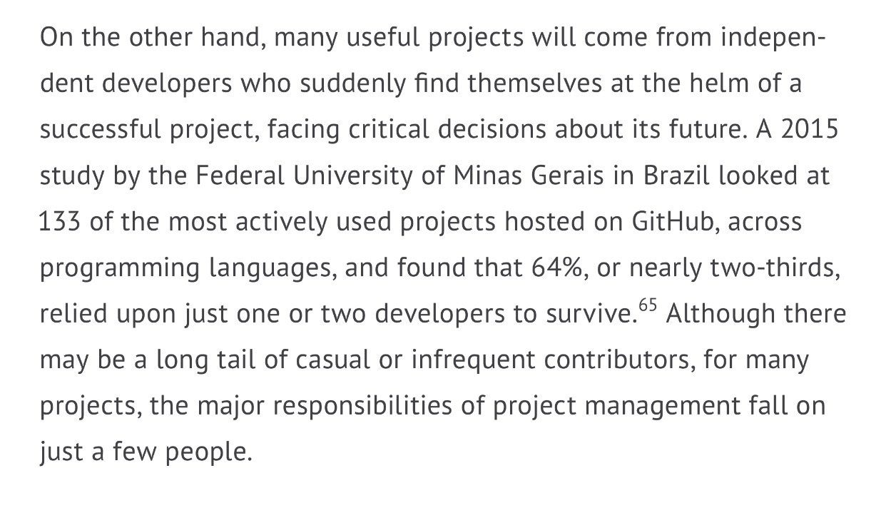 The danger here is that many projects rely on individuals to survive. https://t.co/tyNvQh9mSS