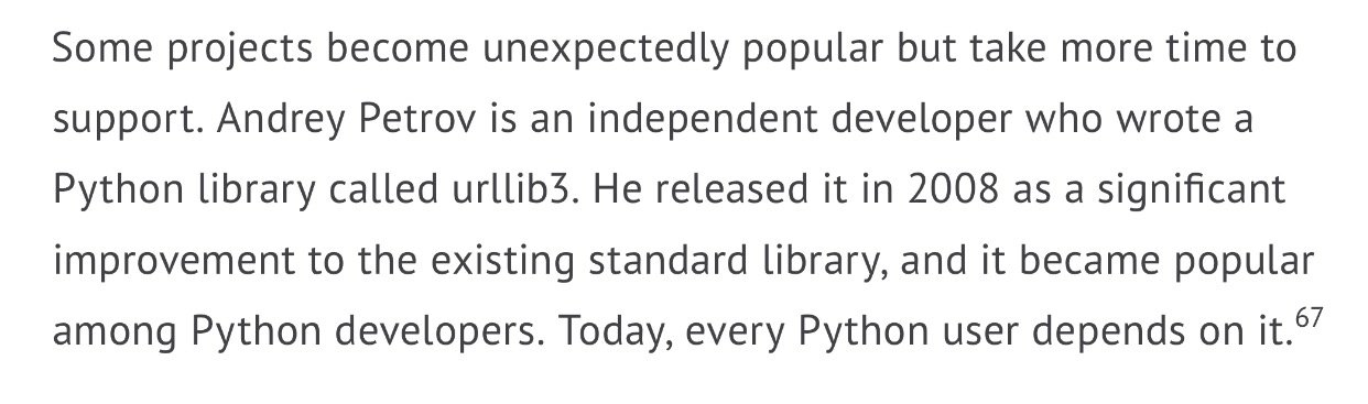 Or, more relevantly for the Python community, @shazow's extremely important urllib3 project. https://t.co/THyj3GqAfr