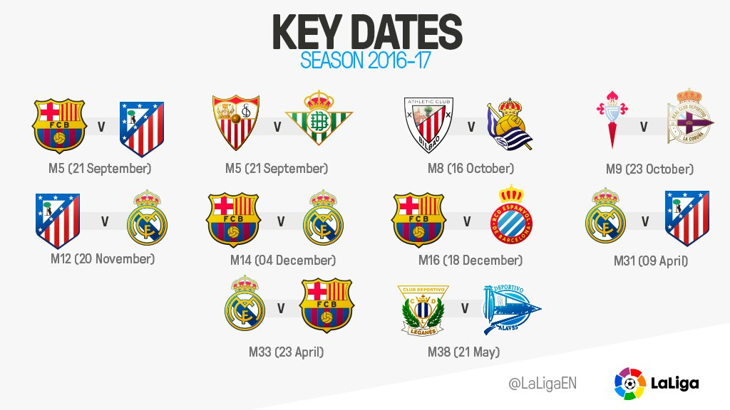 LaLiga On Twitter ElClasico The Derbies Some LaLiga Fixtures - La liga fixtures table