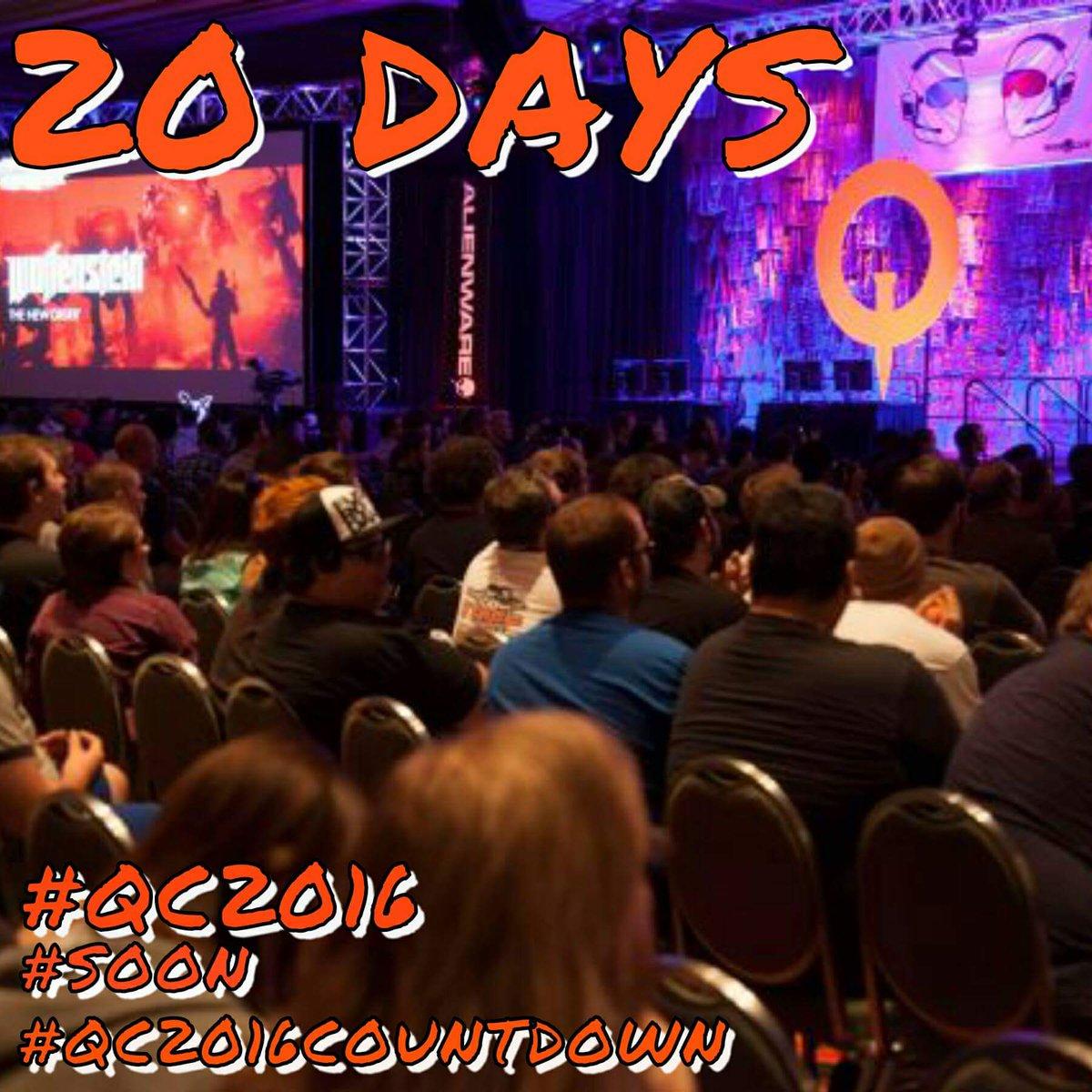 20 DAYS TILL @QuakeCon ! Who ready!? #SOON #qc2016 #quakecon #partycentral @BAWLSGuarana @bethesda @idSoftware https://t.co/i6zGxpMnsG