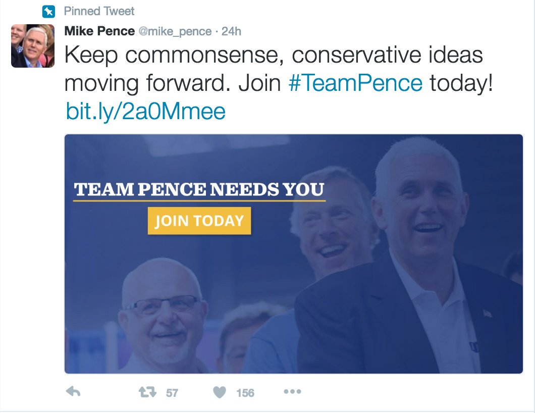 3) Or update the pinned tweet on the top of Pence's account linking to his reelect page, as people flood there: https://t.co/seGkITrHlr