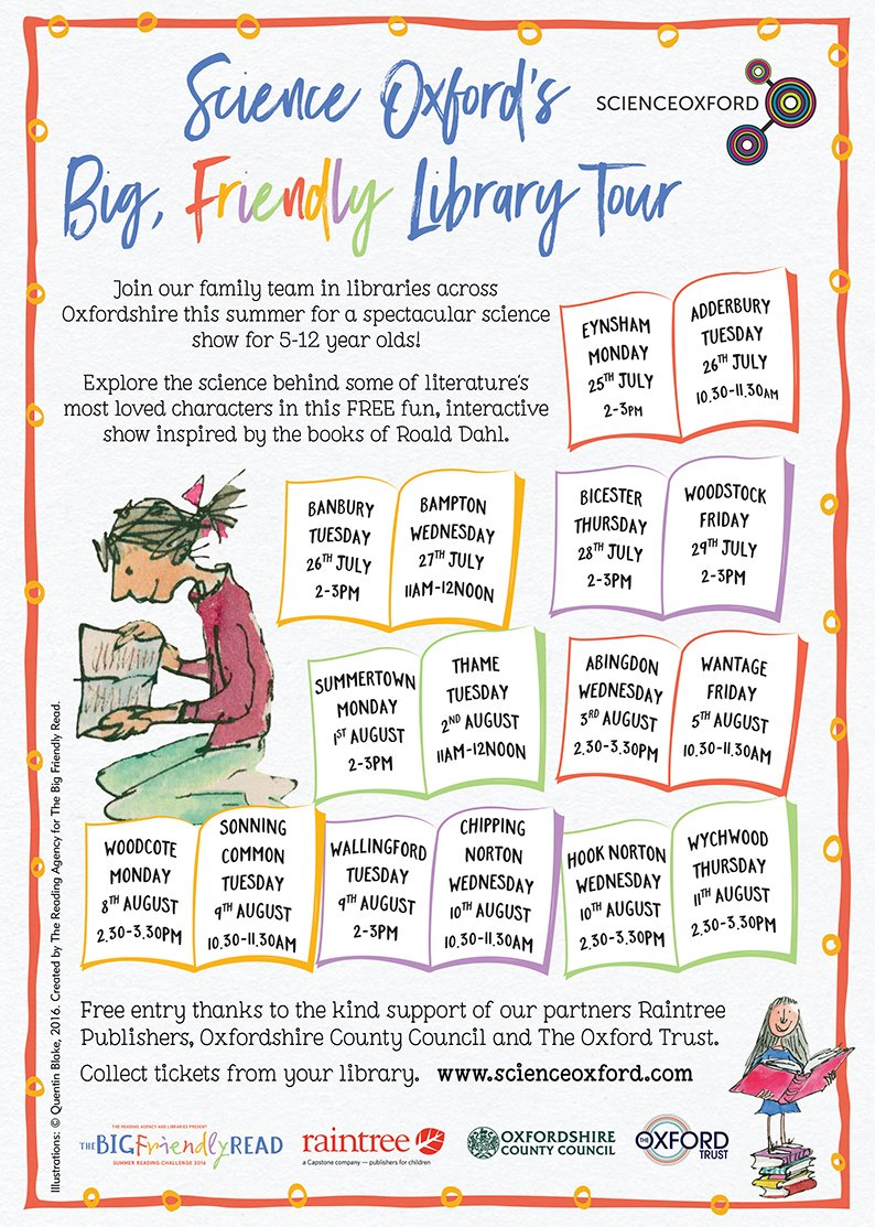 Excited! Science Oxford's Big Friendly Library Tour @Oxonlibraries #SummerReadingChallenge #BigFriendlyRead #Dahl100 https://t.co/1h4PUGjOv6