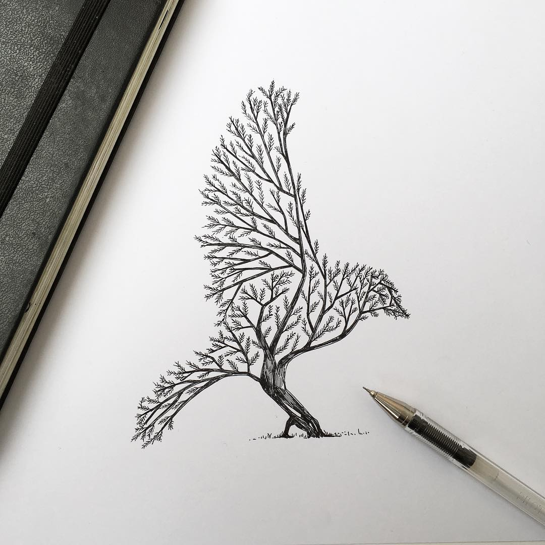 Colossal On Twitter Pen Ink Depictions Of Trees Sprouting Into Animals By Alfred Basha Https T Co Uflkyt0eac