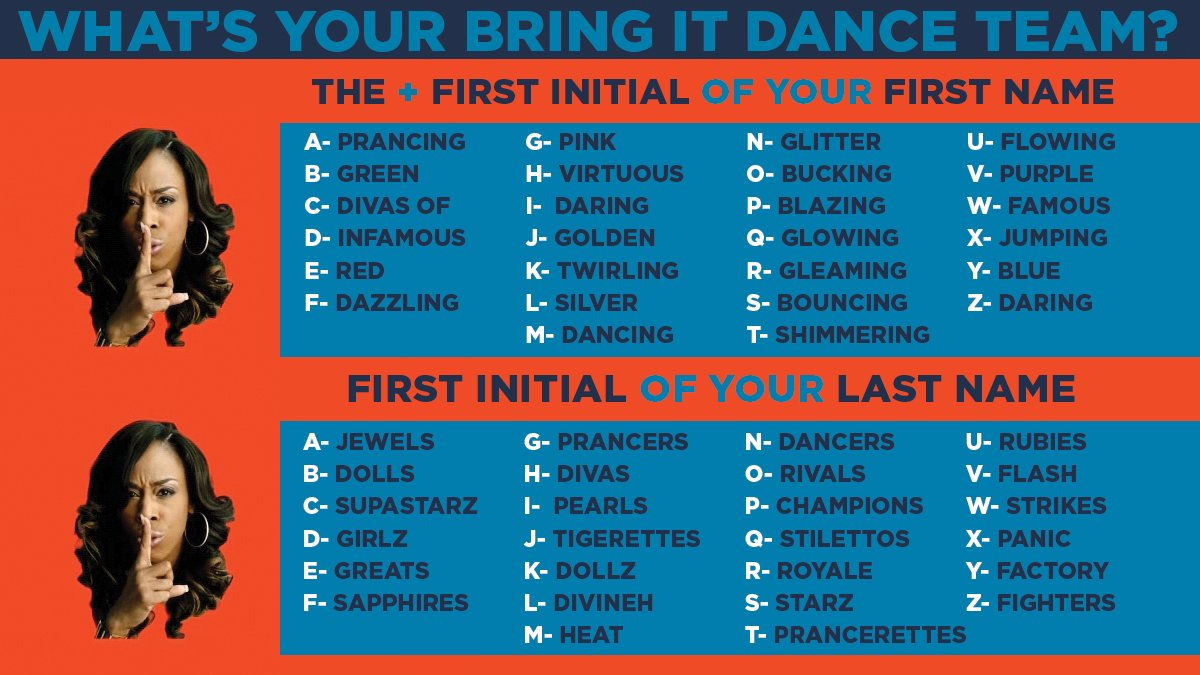 """Team Names: BringIt! On Twitter: """"What Would Your Dance Team Name Be"""