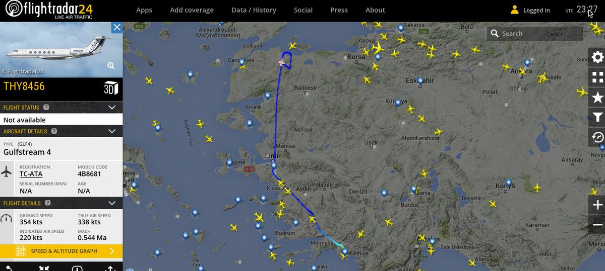 This is probably Erdogan's plane: Turkish Government GIV TC-ATA circling now @avischarf https://t.co/Aiwha8hZJZ