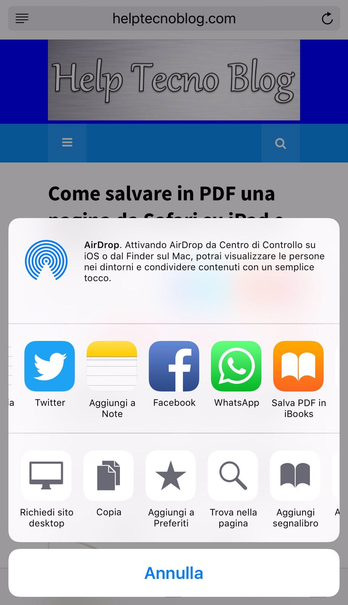 Salvare pagina internet in PDF da Safari