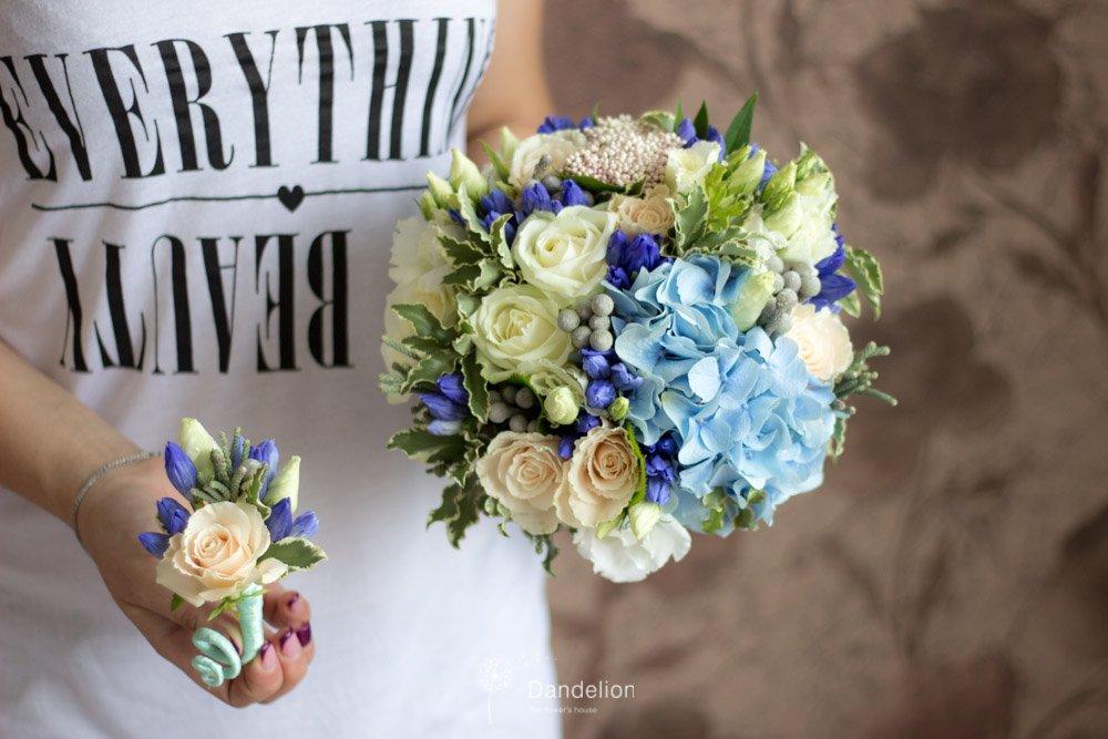 Осенних, оригинальные свадебный букет и бутоньерка киев купить