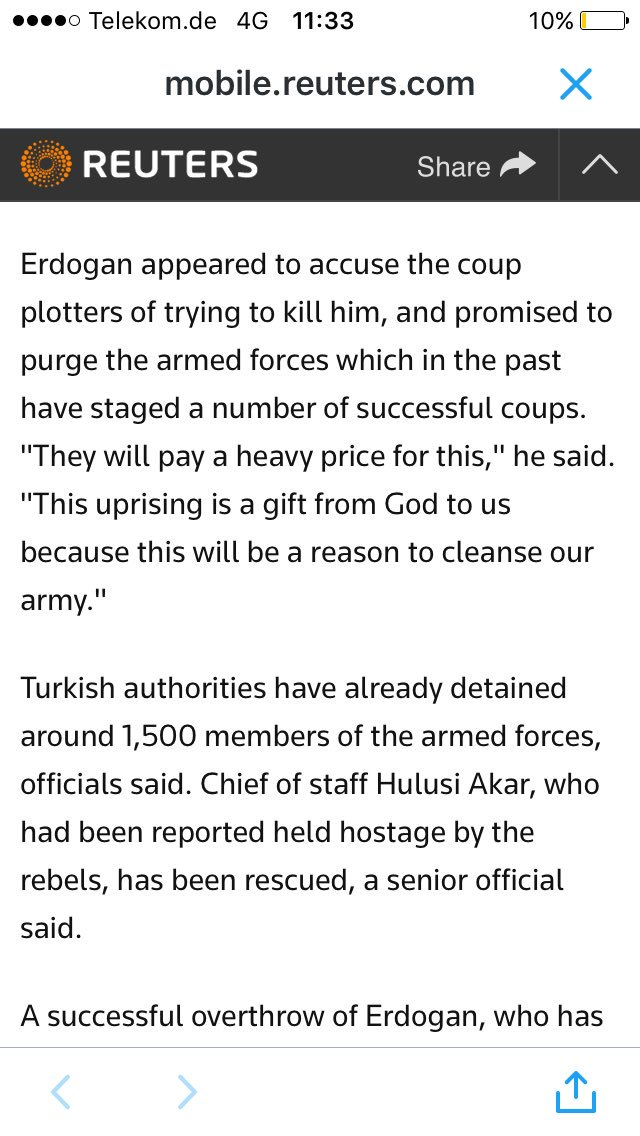 Extraordinairy quote from President #Erdogan 'gift from God, reason to clean army'! #Turkey https://t.co/ZUuSyca2z6 https://t.co/HUB3f3X75B