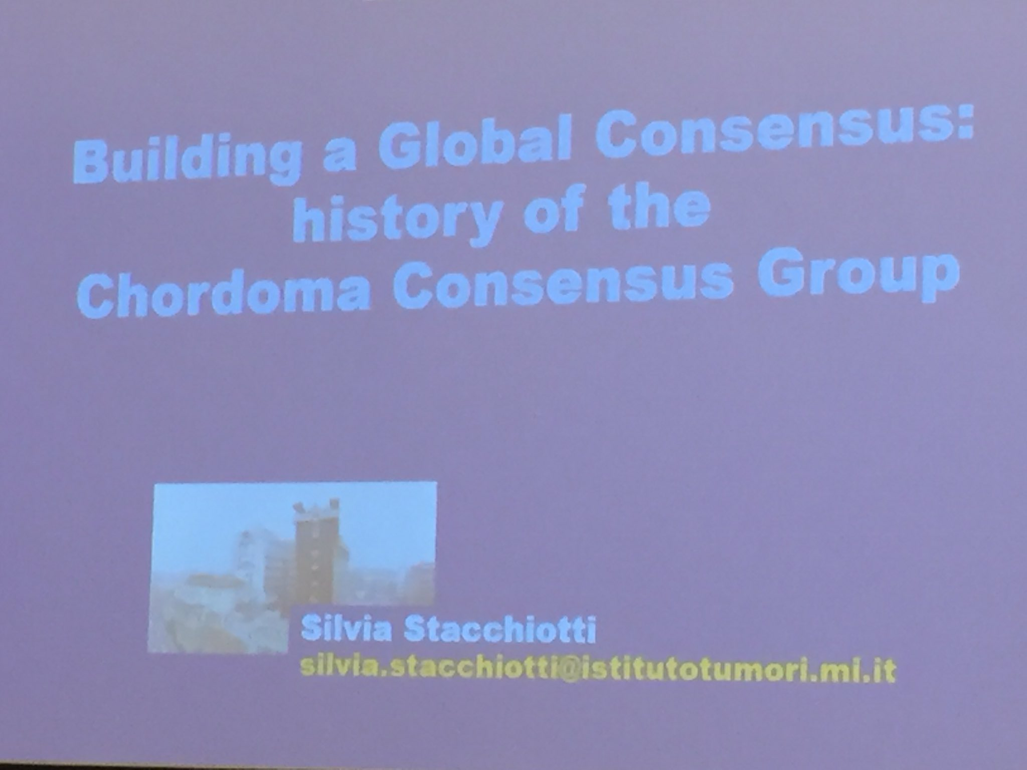 Welcome Silvia Stacchiotti, MD of .@IstTumori #milan at #Chordoma conference #chordomacommunity https://t.co/uDdZK2y5uf