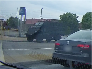 Looks like the OSU MRAP (military mine resistance vehicle) is here. Spotted on Chester at 3PM today. #RNCinCLE https://t.co/RhnhNsIFUI