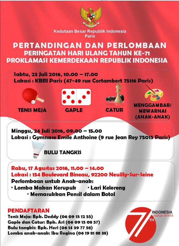 Ambassade D Indonesie Paris On Twitter Pertandingan Dan